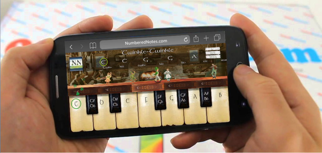 Playing Numbered Notes App on a phone Irish Pub