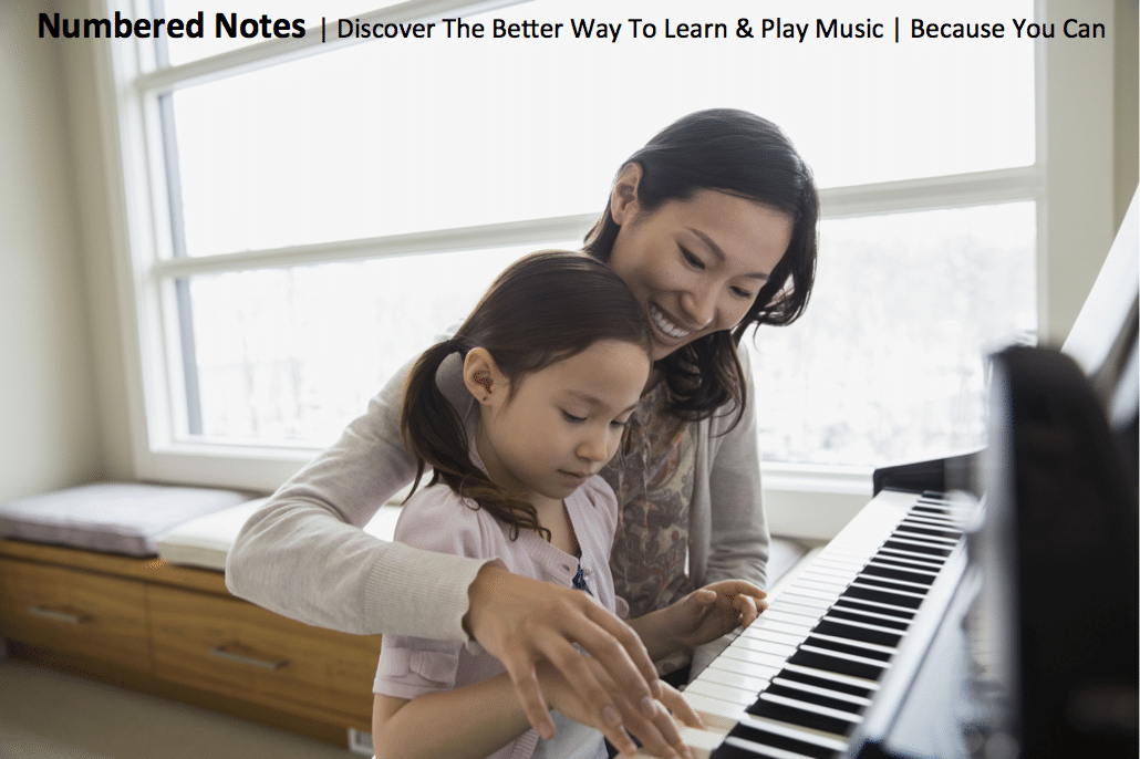 Mother and Daughter having a piano lesson