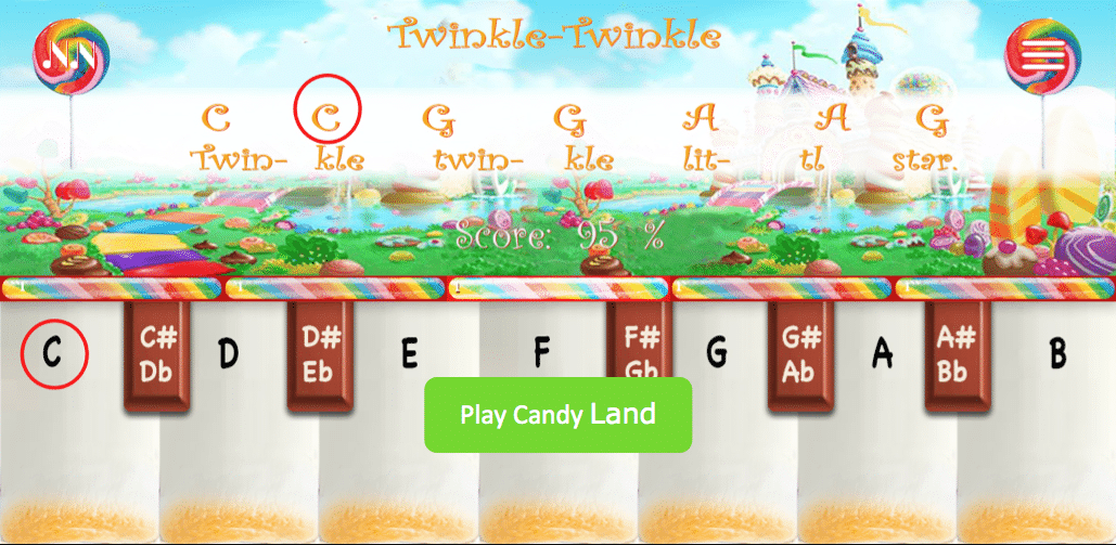Numbered Notes Piano App Candy Land Theme