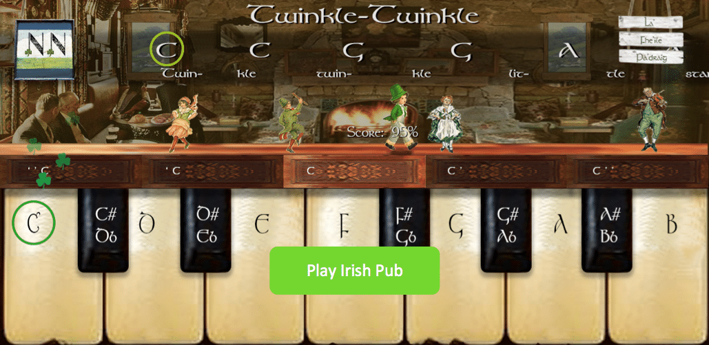 Numbered Notes Piano App Irish Pub Skin