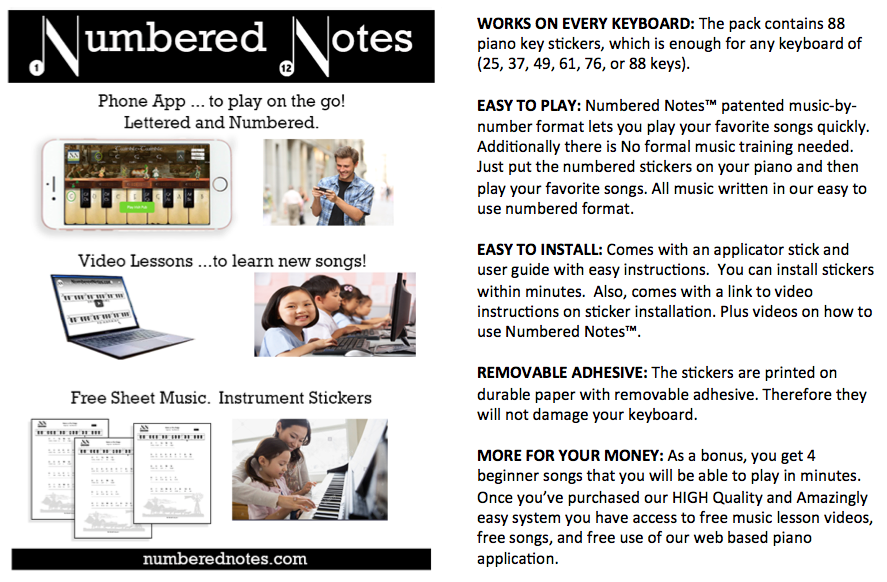 Numbered Notes Piano Keyboard Stickers & Sheet Music, Why it works